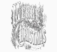 Vintage Merry Christmas Holiday Greeting (Black Text) Kids Clothes