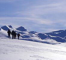 Ski-touring group by Paul Watson