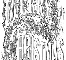 Vintage Merry Christmas Holiday Greeting (Black Text) by taiche