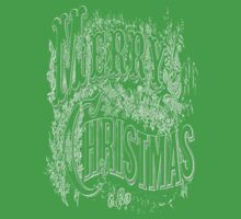 Vintage Merry Christmas Holiday Greeting (White Text) Kids Clothes