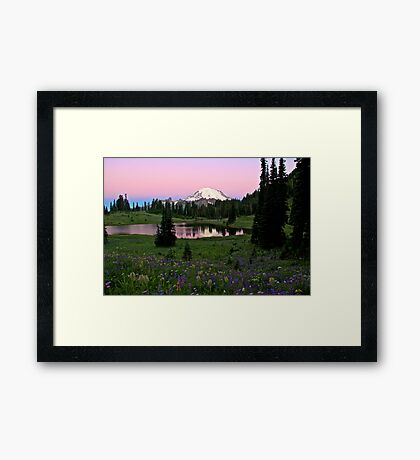 Pastel Skies Over Rainier Framed Print
