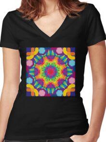 Rainbow Juniperus Women's Fitted V-Neck T-Shirt