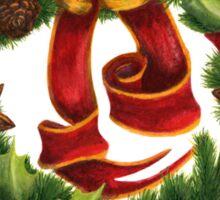 Christmas wreath. Art nouveau. Sticker