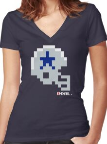 Tecmo Bowl - Dallas - 8-bit - Mini Helmet shirt Women's Fitted V-Neck T-Shirt