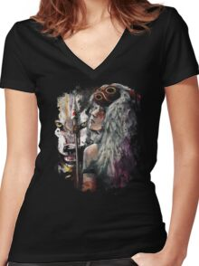 Mononoke San and the Spirit of the Wolf Women's Fitted V-Neck T-Shirt