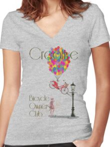 Creative Bicycle Owners Club Women's Fitted V-Neck T-Shirt