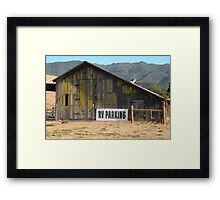Old barn with RV parking Framed Print