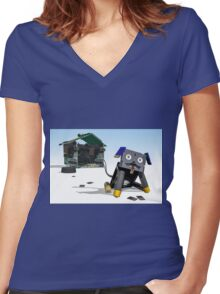 Didgie The Digital Dog Women's Fitted V-Neck T-Shirt