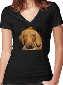 Adorable Vizsla Puppy Women's Fitted V-Neck T-Shirt