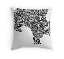 Melbourne Poster - Black on White Throw Pillow