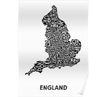 England Poster - Black on White Poster