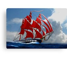 The Clipper Ship Indian Queen Races for Home Canvas Print