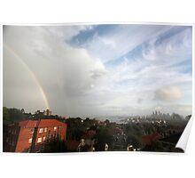 Double rainbow over Sydney skyline, Australia Poster