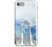 hands watercolor mountains illustration iPhone Case/Skin