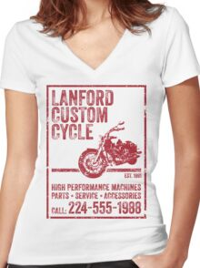 Lanford Custom Cycle Women's Fitted V-Neck T-Shirt