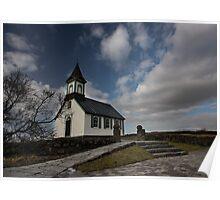 little church at Thingvellir national park Poster
