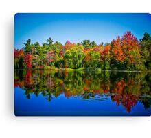 Peak Fall Colors Reflected on a Blue Lake Canvas Print