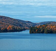 Fall Foliage in a Blue Lake and Sky Symphony by Chantal PhotoPix