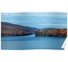Fall Foliage in a Blue Lake and Sky Symphony Poster