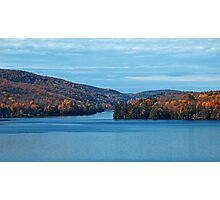 Fall Foliage in a Blue Lake and Sky Symphony Photographic Print