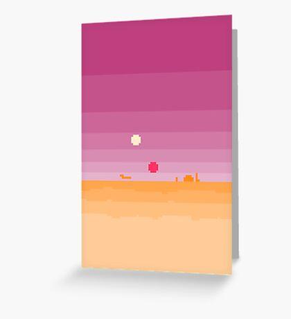 Pixel Tatooine Landscape Greeting Card
