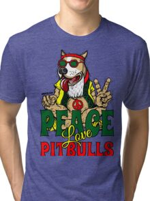 PEACE LOVE AND PIT BULLS Tri-blend T-Shirt