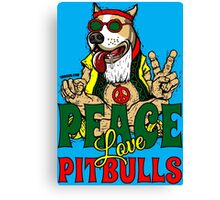 PEACE LOVE AND PIT BULLS Canvas Print