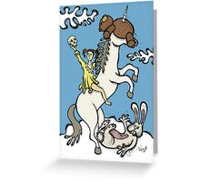 Teddy Bear And Bunny - Unicorn Ride Greeting Card