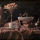 Sliver Coffee Pot, Almonds & Plums by Rachel Slepekis