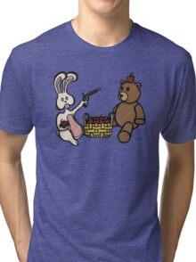 Teddy Bear And Bunny - A Dangerous Game Tri-blend T-Shirt