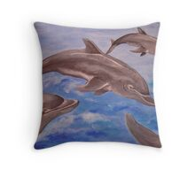 Jumping Dolphins And  Blue Sea Throw Pillow