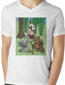 Teddy Bear And Bunny - Making The Most Of It Mens V-Neck T-Shirt