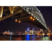 Sydney Harbour Bridge & Opera House at Night Photographic Print