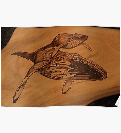 Pyrography of Humpback Whales: Mum & Bub Poster