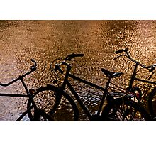 Sunset silhouette bicycles Photographic Print