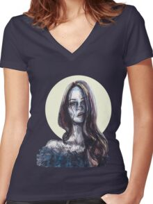 mixed media portrait Women's Fitted V-Neck T-Shirt