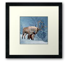 Reindeer And Fawn Winter Scenery Framed Print