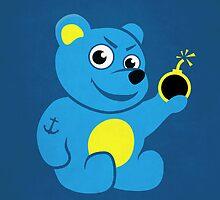 Evil Tattooed Cartoon Teddy Bear by Boriana Giormova