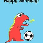 Funny Cartoon Dinosaur Soccer Birthday Card by Boriana Giormova