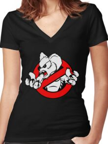 GB: Australia Drop Bear (red) Women's Fitted V-Neck T-Shirt