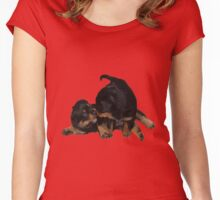 Rottweiler Puppies Playing Vector Isolated Women's Fitted Scoop T-Shirt