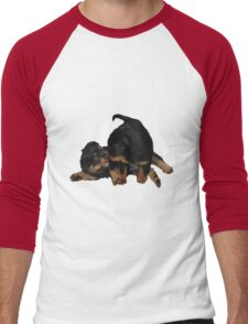 Rottweiler Puppies Playing Vector Isolated Men's Baseball ¾ T-Shirt
