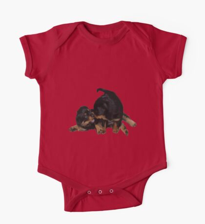 Rottweiler Puppies Playing Vector Isolated One Piece - Short Sleeve