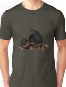 Rottweiler Puppies Playing Vector Isolated Unisex T-Shirt