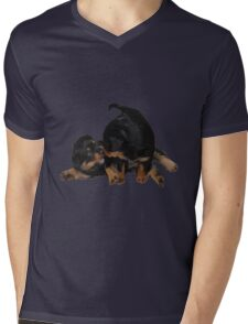 Rottweiler Puppies Playing Vector Isolated Mens V-Neck T-Shirt