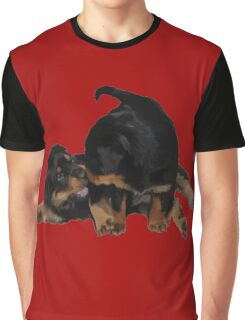 Rottweiler Puppies Playing Vector Isolated Graphic T-Shirt