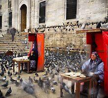 Pigeon Feeders, Istanbul, Eminonu, Mosque by espanek