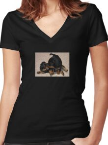Rottweiler Puppies Playing Women's Fitted V-Neck T-Shirt