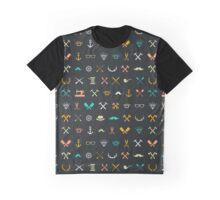 Hipster Seamless Pattern Graphic T-Shirt