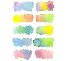 Hand-Painted Watercolor Colorful Gradation Rainbow Labels Photographic Print